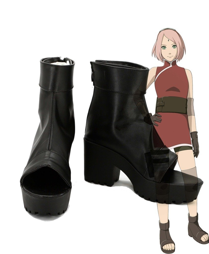 NARUTO Anime The Last Haruno Sakura Cosplay Shoes Boots Custom Made high heel 6 B(M) US Female