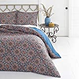 3pc Color King Size Duvet Cover Set, Vibrant Blue Red Indigo Southwest Theme Bohemian Geometric Medallion Pattern Bedding Shabby Chic Casual Modern, Microfiber Polyester