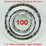 100 UNIVERSAL Round Aluminum Foil Gas Burner Bib Liners Covers Disposal Round 100