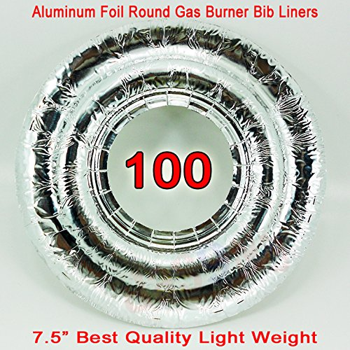 100 Universal Round Aluminum Foil Gases Burner Bib Liners Covers Disposal Round 100
