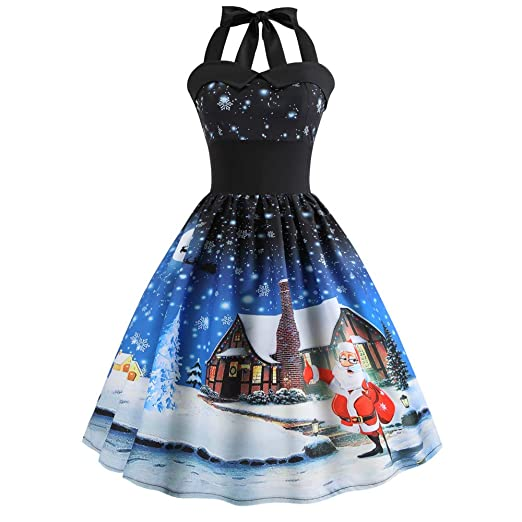 Womens Christmas Dress, Women Vintage Christmas Printed Halter Sleeveless Evening Party Prom Swing Dress 2019