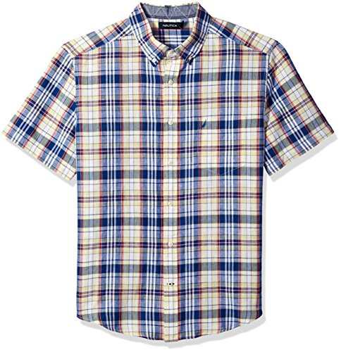 Nautica Men's Short Sleeve Classic Fit Plaid Linen Button Down Shirt, French Vanilla, X-Large
