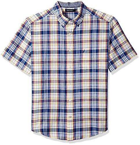 Nautica Men's Short Sleeve Classic Fit Plaid Linen Button Down Shirt, French Vanilla, Large