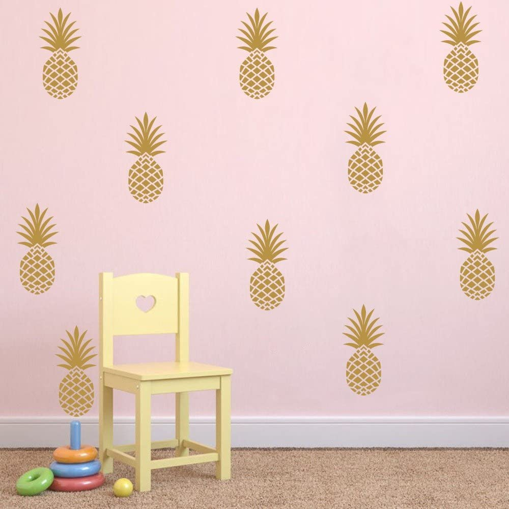 Gold 8 H X 3.5 W//Each Pineapple Wall Decal Large 12 Set Pineapples Sticker//Home Decor Nursery Kids Bedroom Vinyl Wall Decal Mural