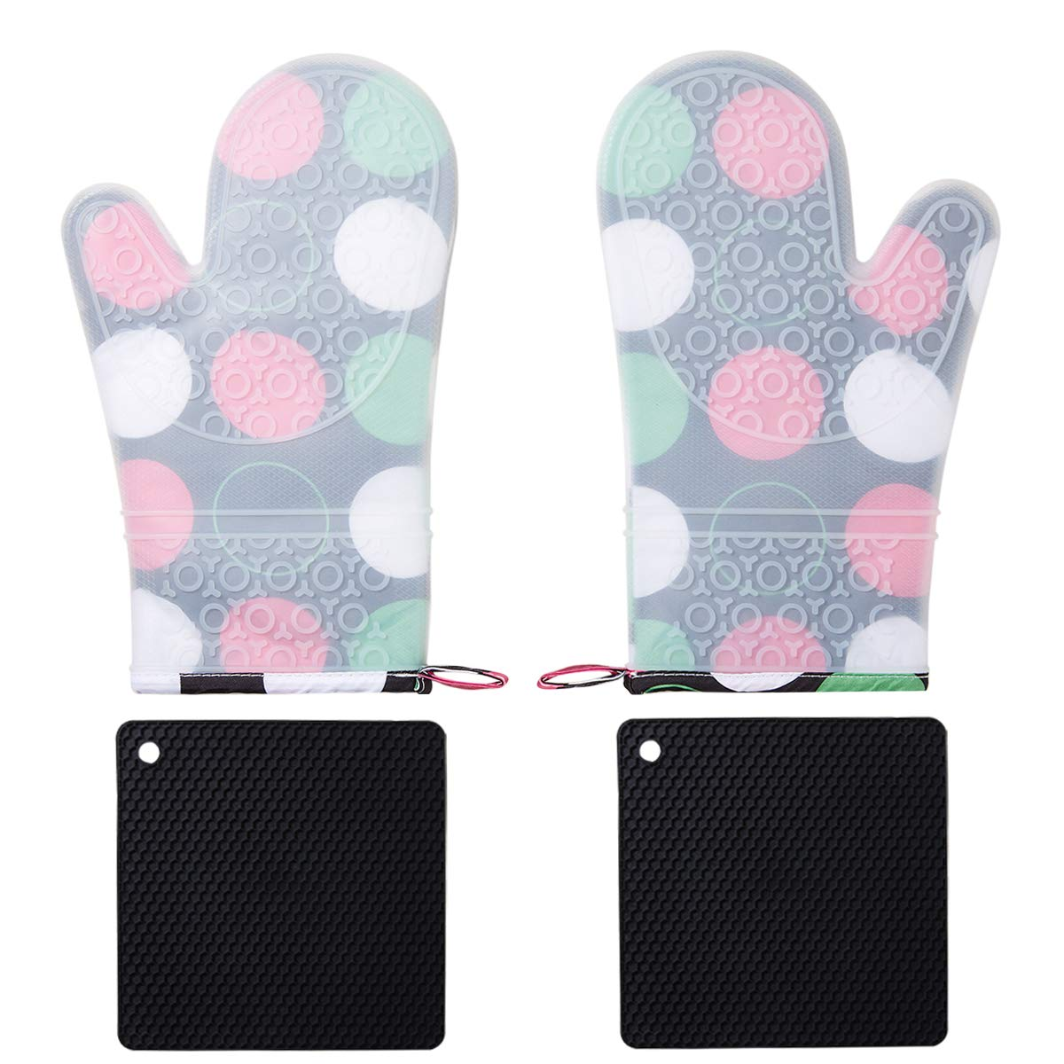 BALOPIVE Silicone Heat Resistant Oven Mitts,with Quilted Cotton Lining and Non-Slip Pot Holders for BBQ Cooking Baking Grilling,4-Piece Sets (Colored Spots)