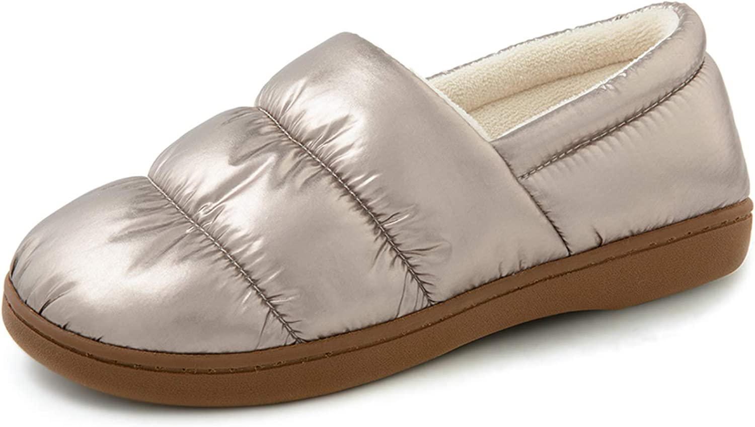 RockDove Women's Closed Back Down Camper Memory Foam Slipper with Indoor Outdoor Rubber Sole