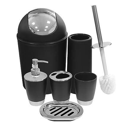 Exceptionnel Black Bathroom Accessories Set 6 Pieces Plastic Bathroom Accessories  Toothbrush Holder, Rinse Cup, Soap