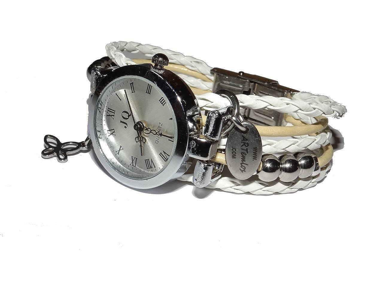 ARTemlos hecho a mano para mujer-reloj de acero inoxidable, metal y piel colour blanco/Beige: Amazon.es: Joyería