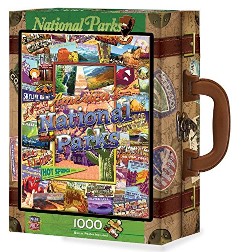 MasterPieces Collector Suitcase National Parks 1000 Piece Puzzle, Camping Jigsaw Puzzle, Outdoor Activity And National Parks Puzzles, Camp Games Kids And Adults Love