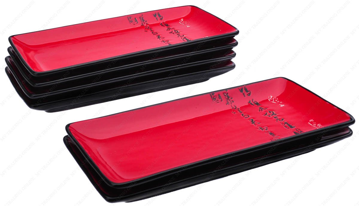 M.V. Trading MFJX941AS6V Long Sushi Serving Plate with Calligraphy Peom Character, Red, 10.25 Inches (L) x 4.75 Inches (W) x 1.00 Inches (H), Set of 6 Pieces