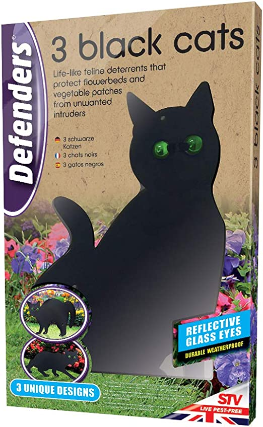 Defenders Tres Gatos Negros (disuasorio de Gatos, Asusta Gatos de Jardines y céspedes, Repelente Humano de Gatos), Negro, 798 g La radiación: Amazon.es: Jardín