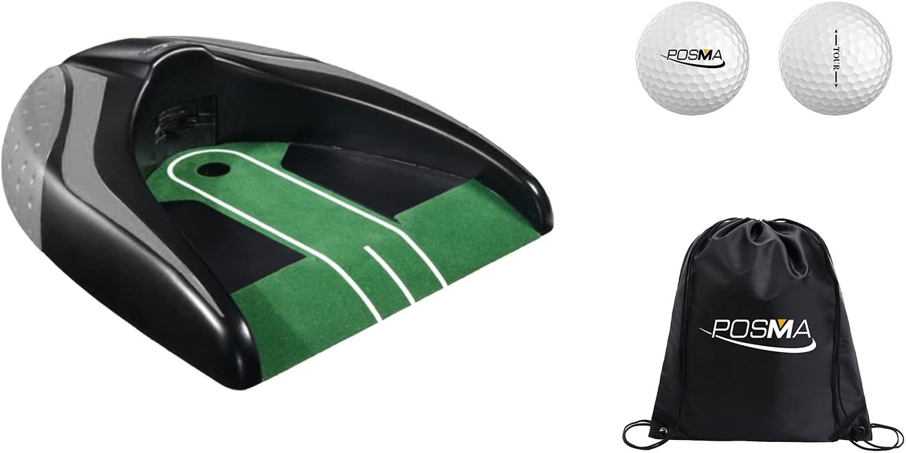 POSMA PG140BK-A Golf Kickback Putt Cup Gift Set Auto Return Putting Cup Golf Putter Trainer