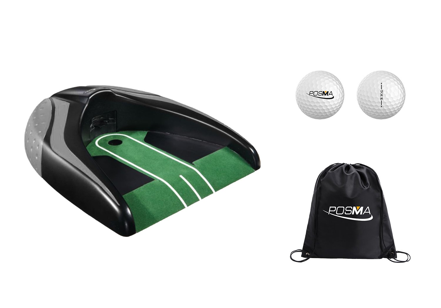 POSMA PG140BK-A Golf Kickback Putt Cup Gift Set Auto Return Putting Cup Golf Putter Trainer
