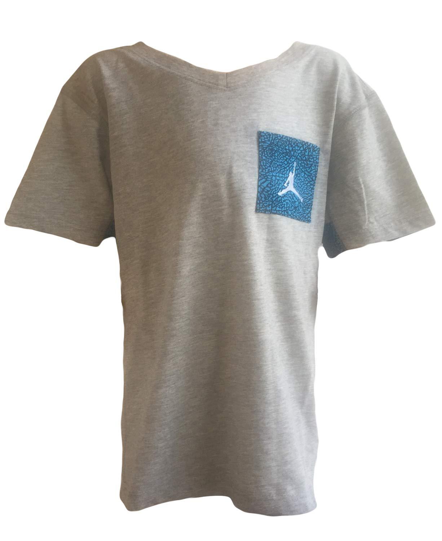 NIKE Air Jordan Boys' Front Pocket Jersey T-Shirt Top (M, DK Grey HTHR) by Jordan