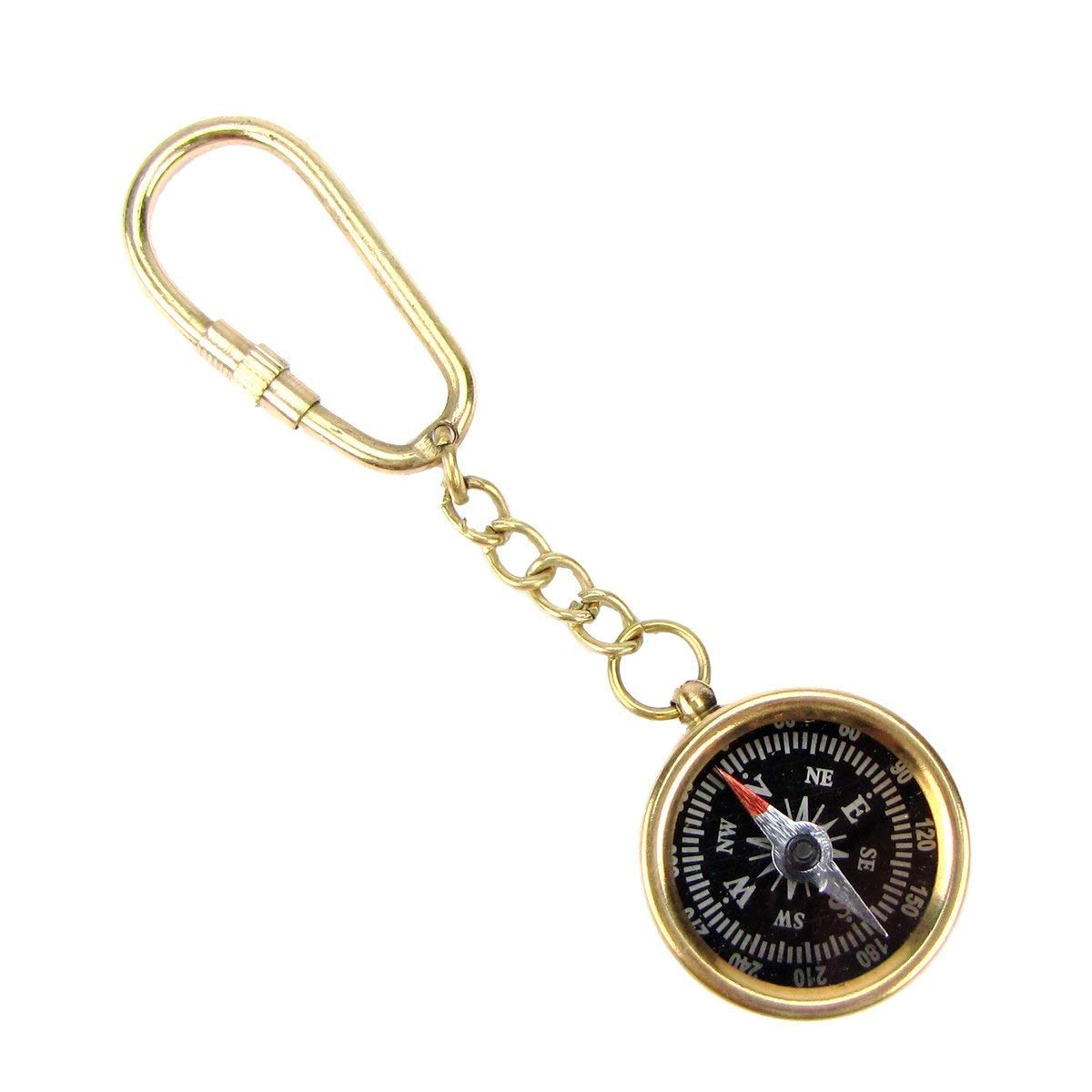 brass gift store Pocket Compass Keychain a
