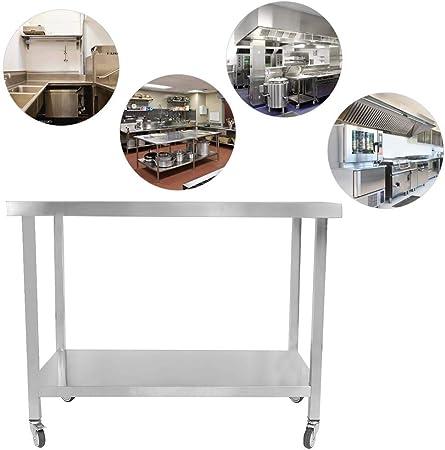 lyrlody Tavoli da Lavoro Commerciali,Tavolo con Ruote,Piano di Lavoro in Acciaio Inox,Attrezzature da Cucina,Tavolo con Ruote,115 60cm 80