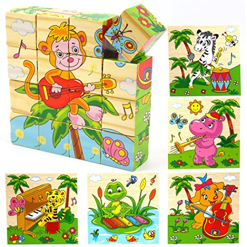 - VolksRose 16 Pcs Wooden Cube Block Jigsaw Travel Puzzles - Monkey, Zebra, Hippo, Tiger, Frog, Squirrel - Musician Pattern Blocks Puzzle Simple & Educational Learning for Child 1 Year and Up Gift