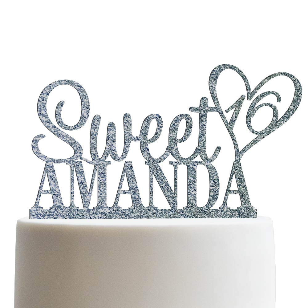 Personalized Sweet Sixteen Cake Topper 16th Birthday Cake Topper Customized Name Quincea-era Cake Topper | Glitter Cake Toppers