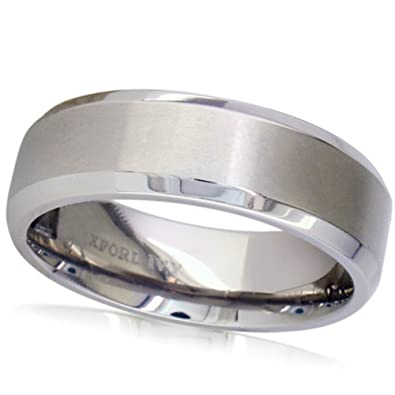 7mm Beveled Edge Mens Comfort Fit Titanium Plain Wedding Band