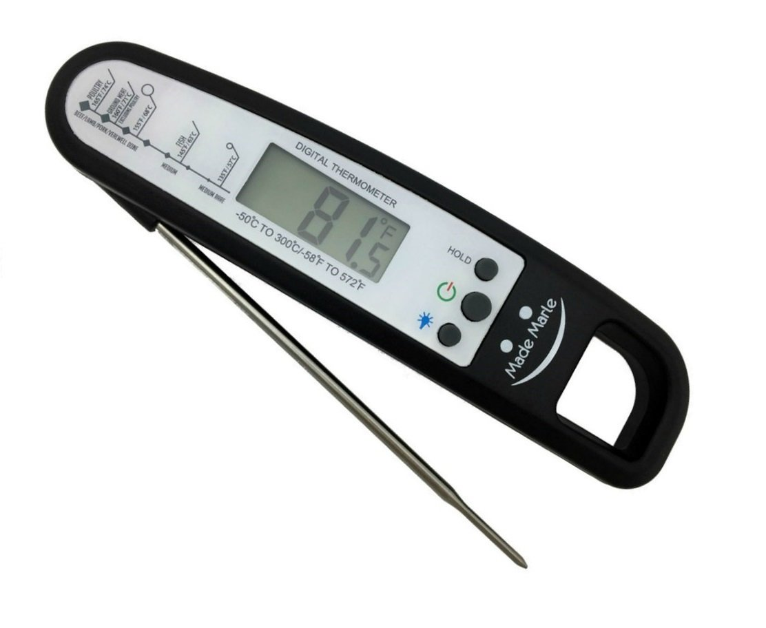 Instant Read Digital Meat Thermometer for Cooking and Grill with Backlight, Food-Safe Stainless Folding Probe (Black) - MadeMarle