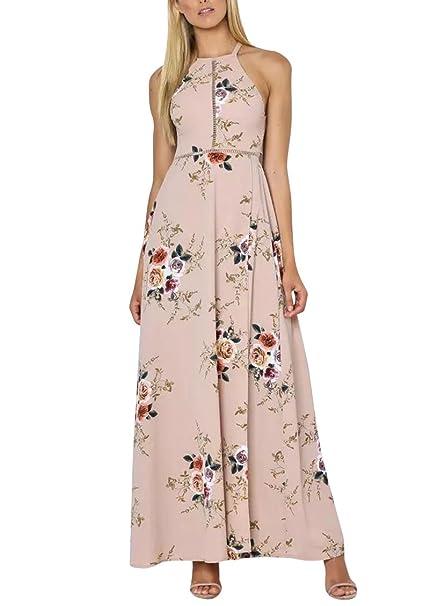 Las Mujeres Abrigo De Cuello Halter Floral Print Maxi Vestido De Fiesta Blanco Mujer Vestido Fiesta