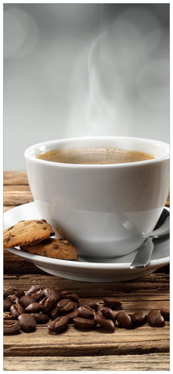 Wallario Selbstklebende Türtapete mit Schutzlaminat, Motiv  Heiße Tasse Kaffee mit Kaffeebohnen - Größe  93 x 205 cm in Premium-Qualität  Abwischbar, Brillante Farben, rückstandsfrei zu entfernen