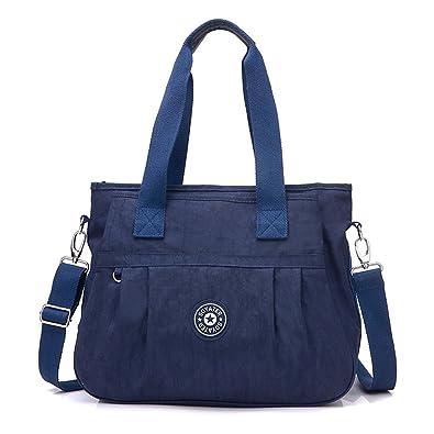 11ab180632e8 Women s Multi-Pocket Casual Handbags Waterproof Nylon Top-Handle Bag  Messenger Cross Body Bag
