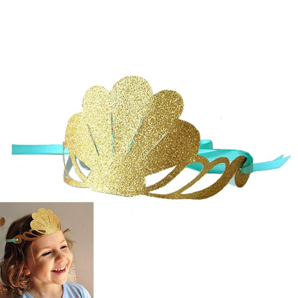 Mermaid Theme Party Hats Glitter Gold Shell Crown Blue Sea Mermaid 12Pcs for Kid Birthday Party Decoration by GOCROWN