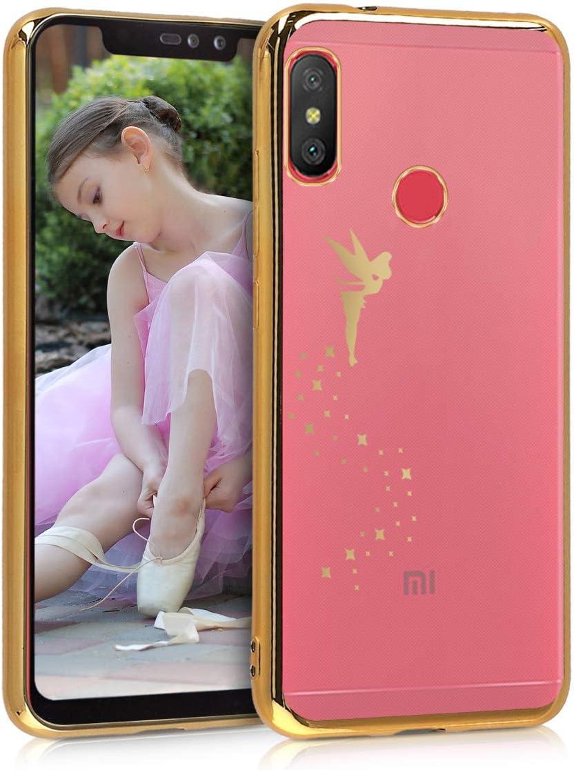 kwmobile Funda Compatible con Xiaomi Redmi 6 Pro/Mi A2 Lite - Carcasa de TPU Hada en Dorado/Transparente