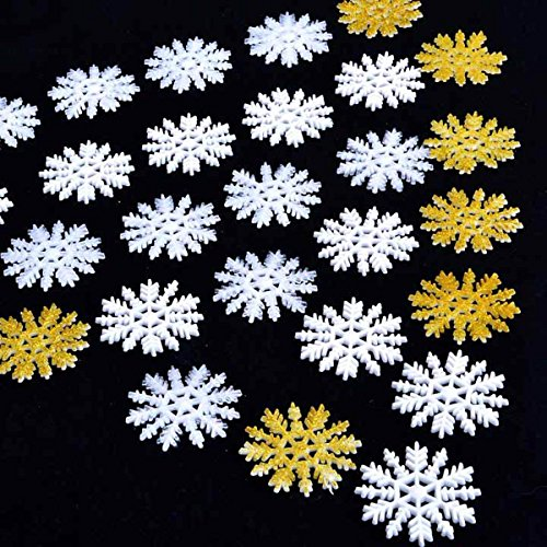 Goodfans 15/30PCS 3D Shimmer Snowflakes Christmas Party String Decorations 5-10CM (String 3 Shimmer)