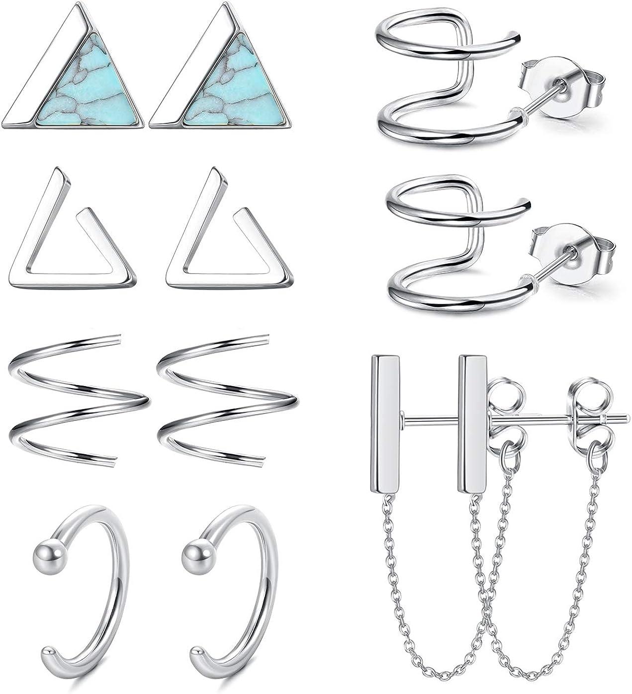 ORAZIO 6 Pairs Minimalist Hoop Stud Earrings Set for Men Women Small Triangle Cuff Huggie Chain Dangle Earrings Stainless Steel Cartilage Helix Piercing Set