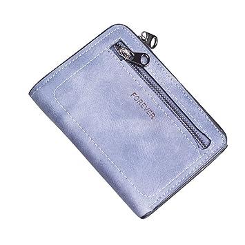 SMARTLADY Moda Mujer Monederos pequeño Billetera Cremallera Carteras de fiesta,13cm×10cm (Azul)