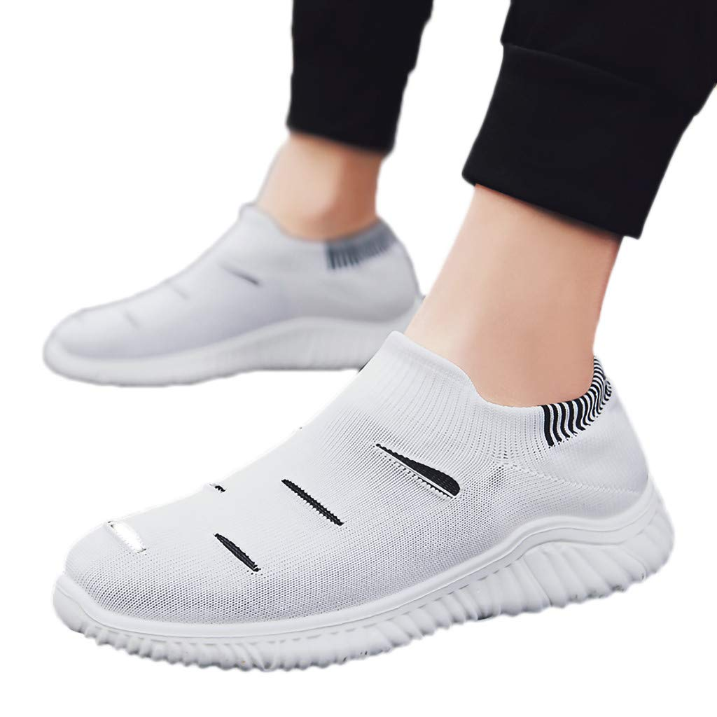 YnuYNSsn Spring and Summer Woven Mesh Non-Slip Breathable Running Sneakers Casual Mens Lazy Socks Shoes