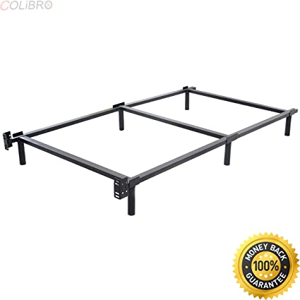 COLIBROX  Black Folding Heavy Duty Metal Bed Frame Center Support Bedroom  Twin Size.