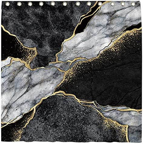 """Black and White Shower Curtain for Bathroom with 12 Hooks, Fabric Marble Bathroom Accessories ,Easy Care Waterproof with Washable Durable Polyester 72""""×72"""""""