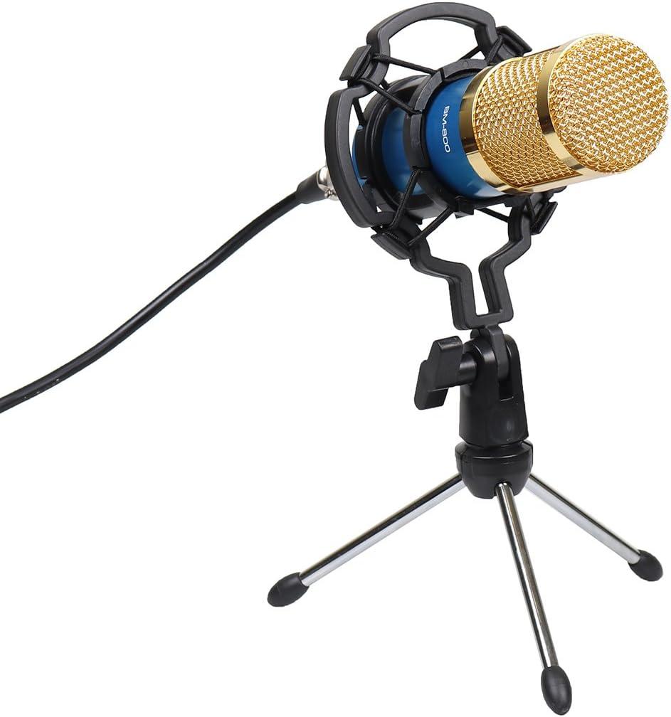Goetland Pro BM800 Kit de micro /à condensateur avec support antichoc pour enregistrement audio studio en direct streaming Bleu avec support de bureau