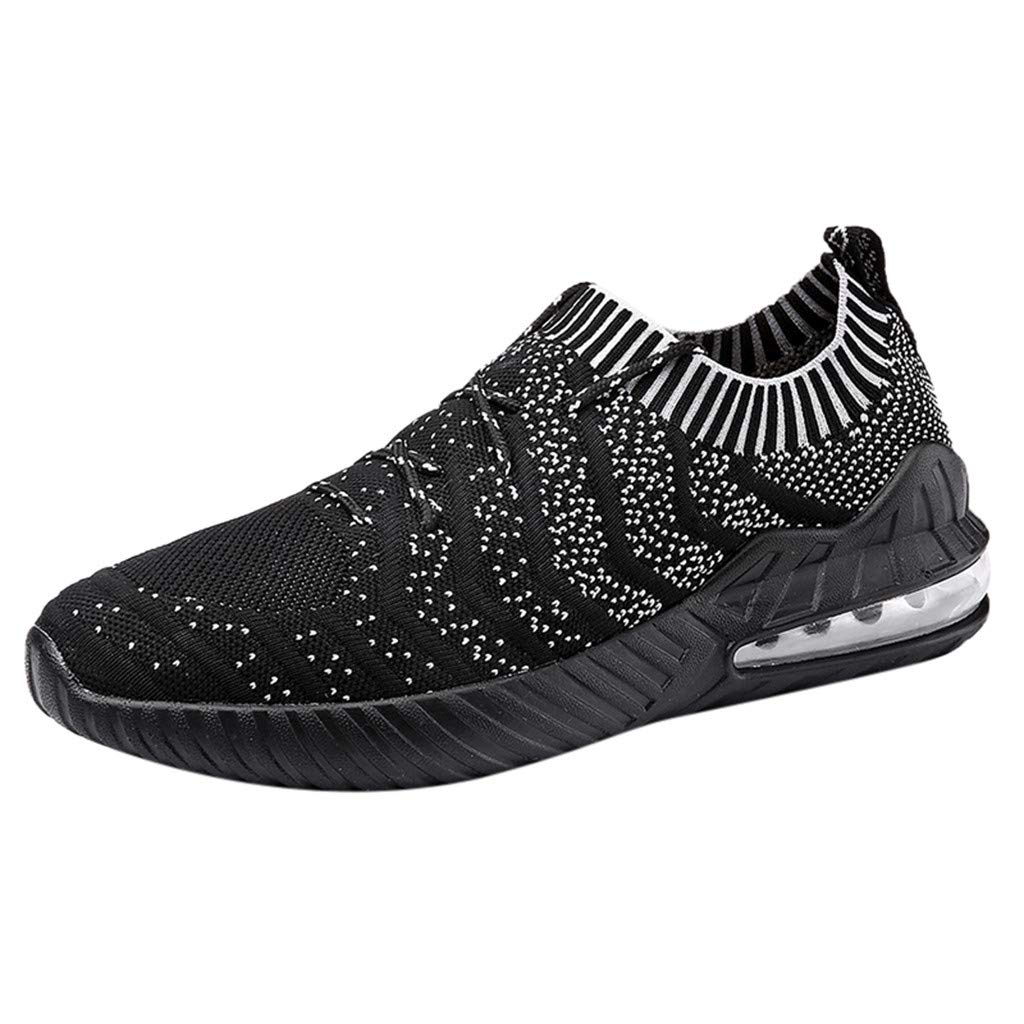 Mysky Men Popular Breathable Woven Mesh Air Cushion Running Shoes Male Casual Outdoor Wild Comfy Sock Sneakers Black