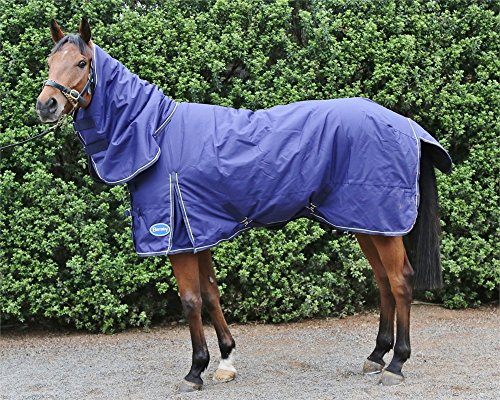 - Barnsby Equestrian Waterproof Horse Winter Blanket/Turnout Rug with Neck Combo - 600 Denier with 300g Fill Navy 81