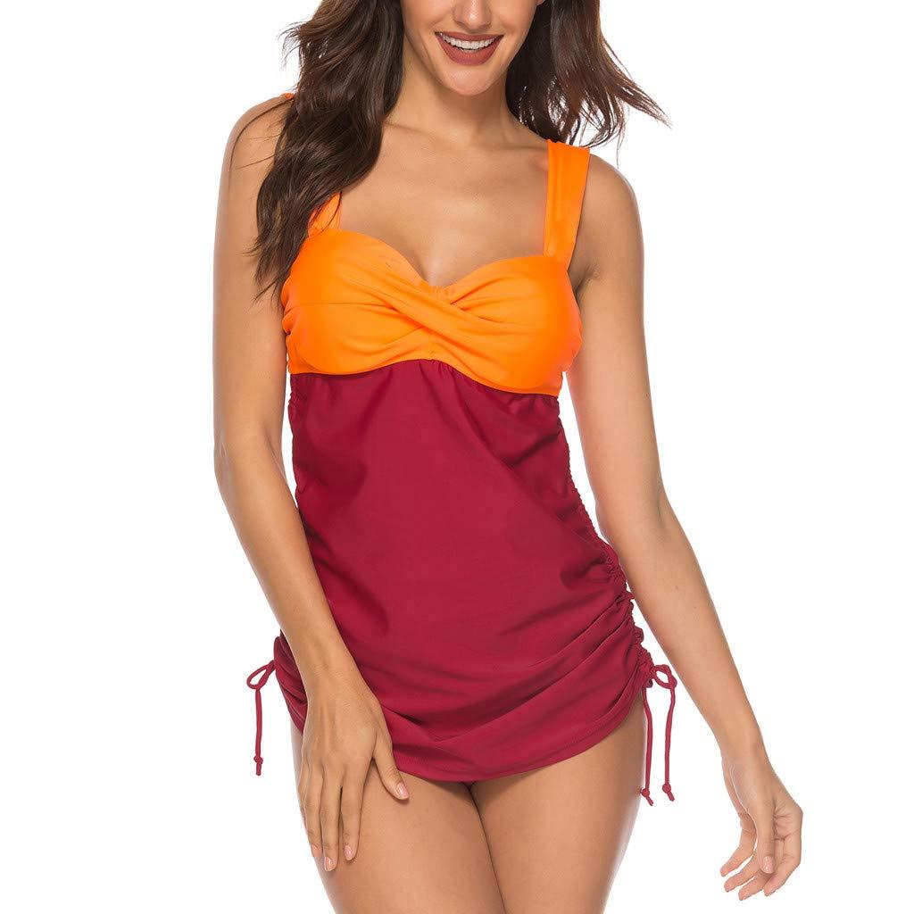 CHLZYD Womens Plus Size Swim Costume Padded Swimsuit Monokini Push Up Tankini Swimwear Orange