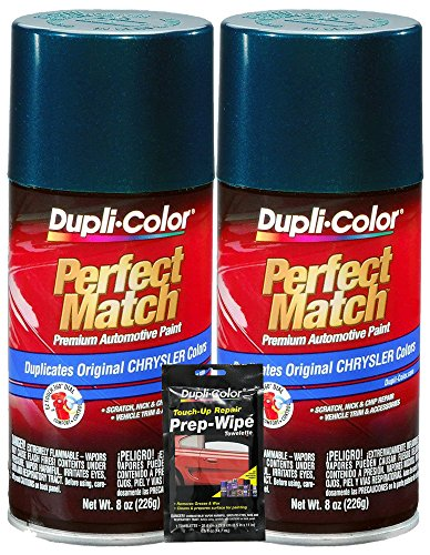 Dupli-Color Emerald Green Pearl Perfect Match Automotive Paint for Chrysler Vehicles - 8 oz, Bundles with Prep Wipe (3 Items)