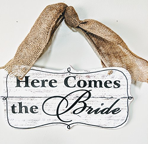 The Painted Cupboard Here Comes the Bride, Rustic Wedding Ceremony Sign with Rope Handle and Burlap Ribbon, Country Wedding (Here Comes The Bride Burlap Sign)
