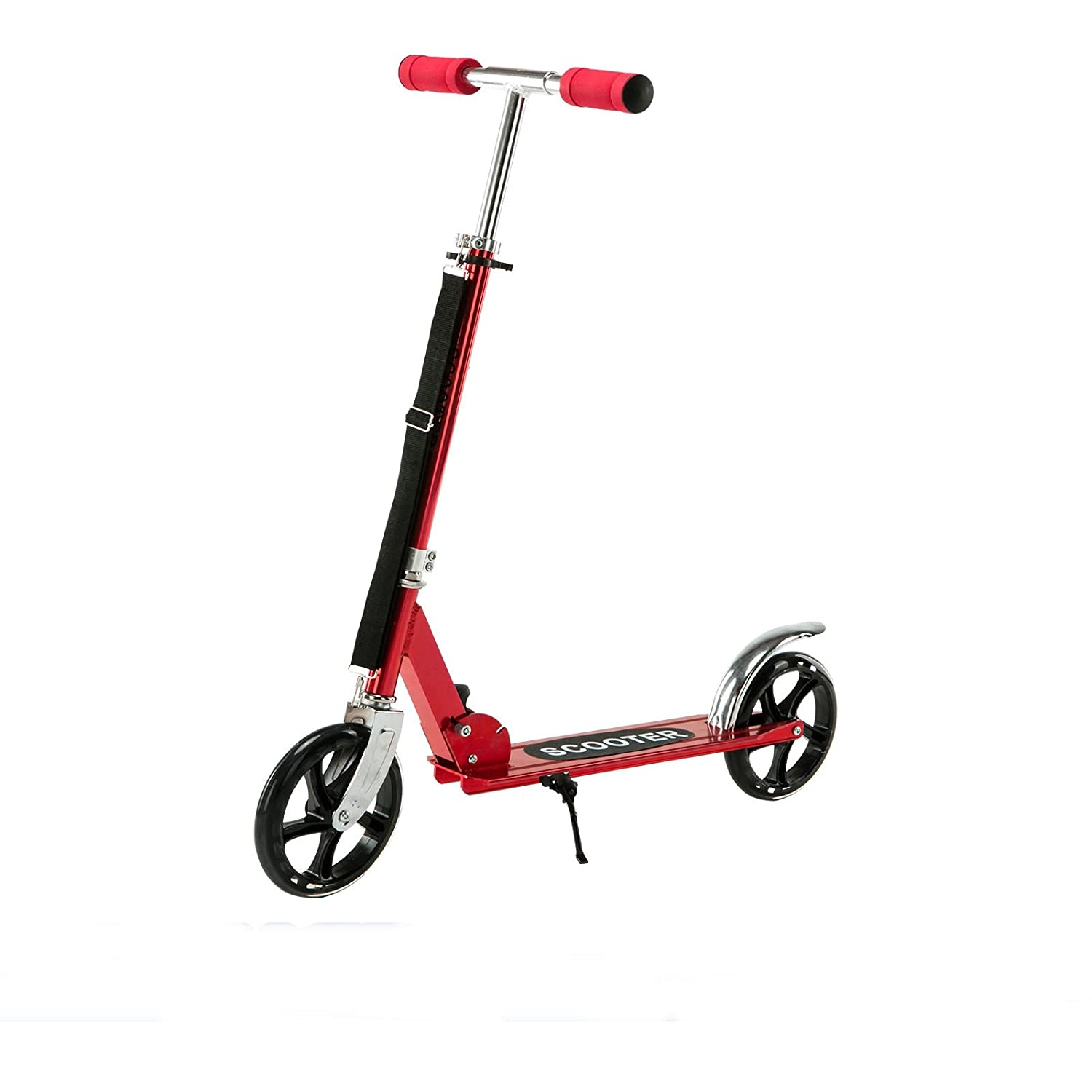 Red exercise scooter folding outdoor kid adult ride sport kick scooter 2 wheels