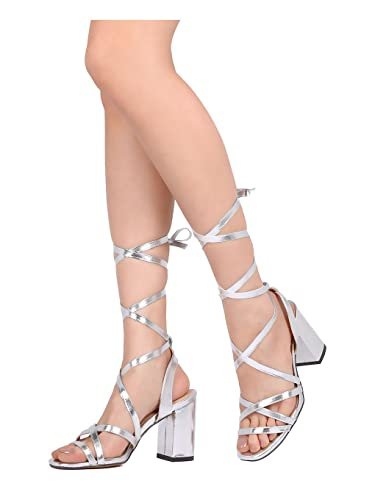 fa585099f9d Women Metallic Leatherette Open Toe Strappy Lace Up Block Heel Sandal GD22  - Silver (Size