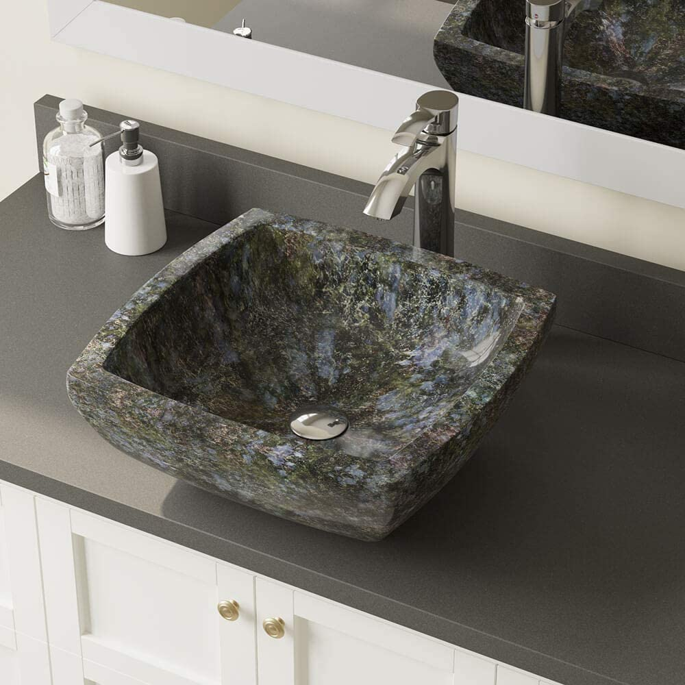 857 Butterfly Blue Granite Vessel Sink Antique Bronze Bathroom Ensemble with 718 Vessel Faucet Bundle - 3 Items: Sink, Faucet, and Pop Up Drain
