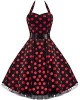 Pretty Kitty Fashion 50s Groß Rot Polka Dot Schwarz Weiß Neckholder Cocktail Kleid -JETZT bis Größe 54!