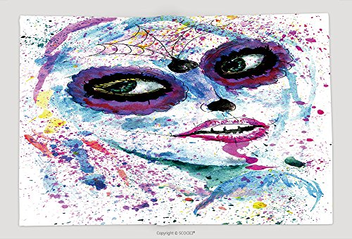 Supersoft Fleece Throw Blanket Halloween Girl With Sugar Skull Makeup Watercolor Painting 307875743 (Bases De Rap Halloween)