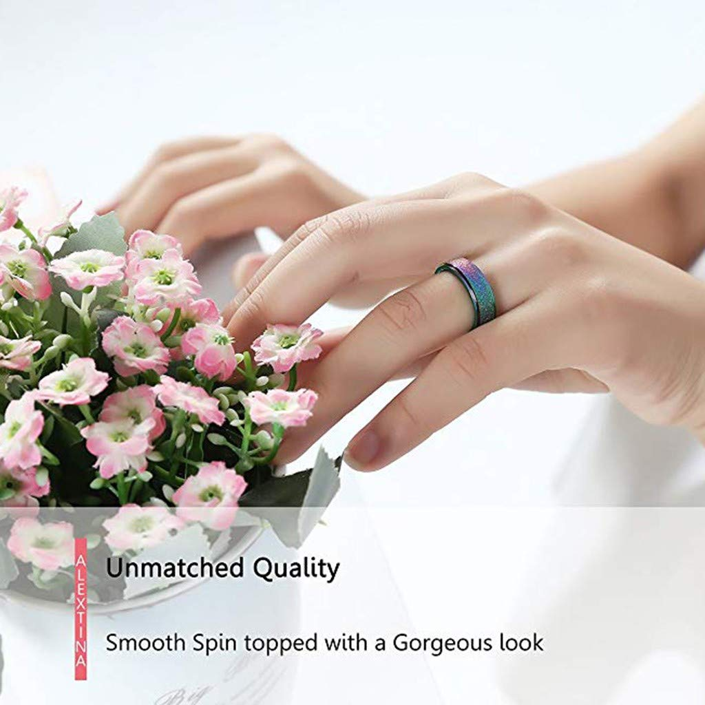 khdug Valentine Ring for Women Couple Colour Glow at Night Geometry Ring Jewelry Ring Size 6-13