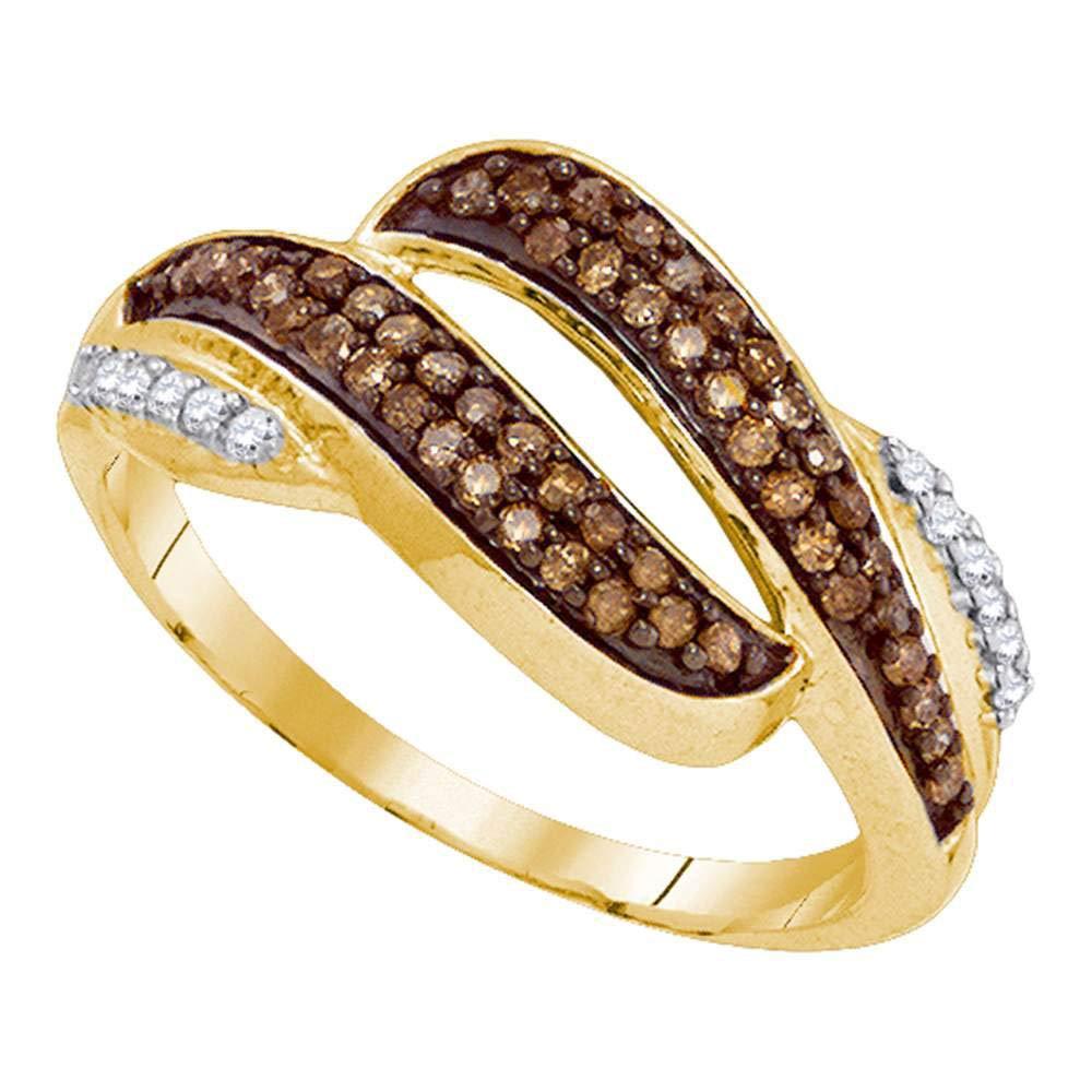 Brown Diamond Fashion Band Wedding Ring Anniversary 1//3ct 10k Yellow Gold