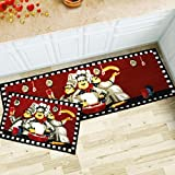MAXYOYO 2 Pieces Fat Chefs Kitchen Floor Mats Runner Rug Set,Kitchen Area Rug,Entrance Mat (3 chefs)