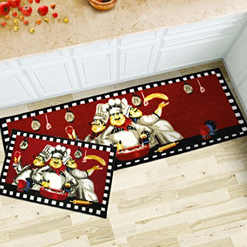 MAXYOYO 2 Pieces Fat Chefs Kitchen Floor Mats Runner Rug Set,Kitchen Area Rug,Entrance Mat (3 chefs) (Fat Kitchen)